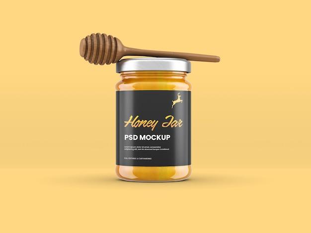 Мокап баночки с медом в изолированных