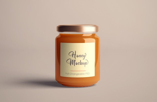 Honey jar mockup isolated