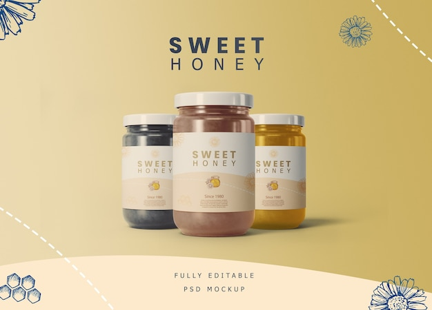 Honey jars with label mockup