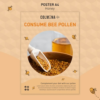 Honey shop poster template