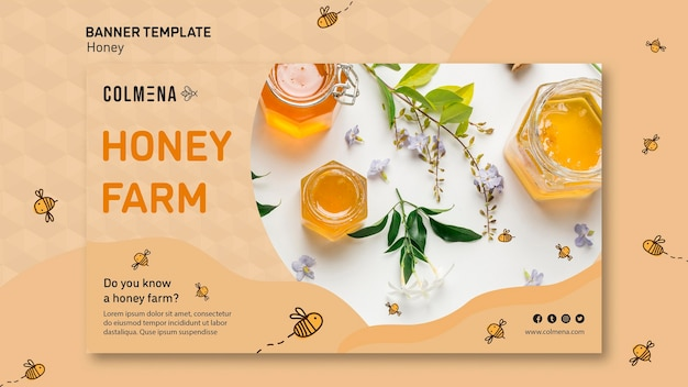 Honey shop promo banner template