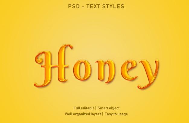 Медовые текстовые эффекты в стиле редактируемые psd