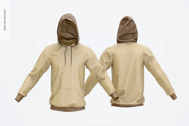 Hoodies mockup, front and back view