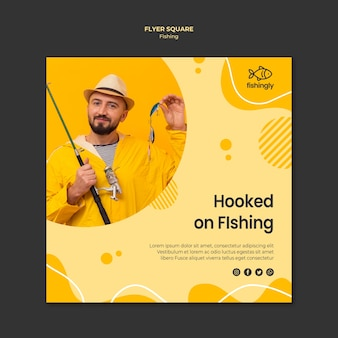 Hooked on fishing man in yellow coat square flyer