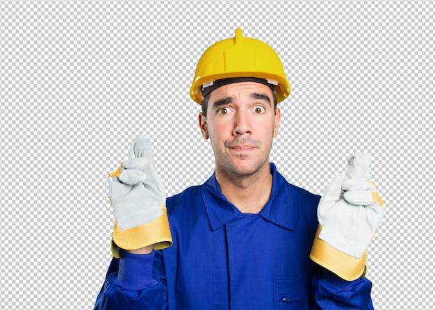 Hopeful worker on white background