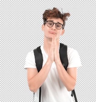 Hopeful young student praying