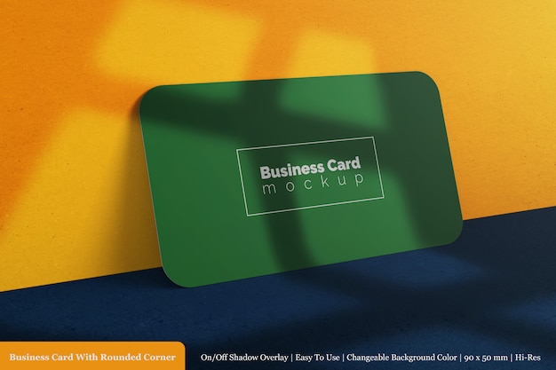 Horizontal 90x50mm realistic round business card psd premium mockup template