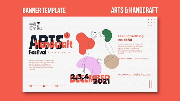 Horizontal banner for arts and crafts festival