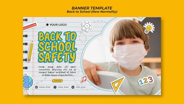 Horizontal banner for back to school season