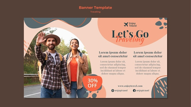 Horizontal banner for backpack traveling with couple