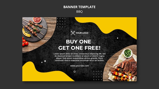 Horizontal banner for barbecue restaurant