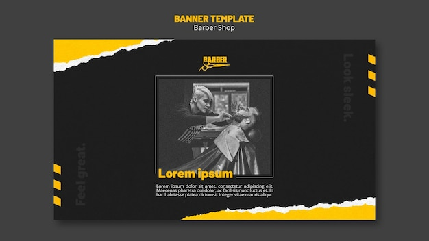 Horizontal banner for barber shop business