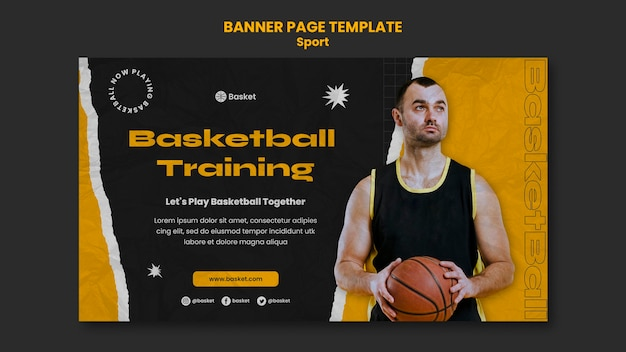 Horizontal banner for basketball game with male player
