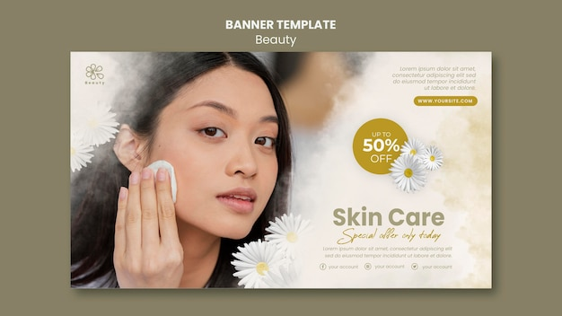 Horizontal banner for beauty and spa with woman and chamomile flowers