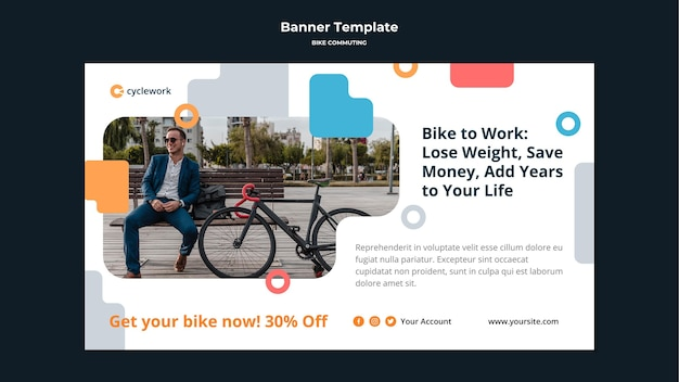 Horizontal banner for bicycle commuting with male passenger