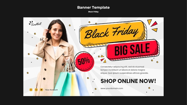 Horizontal banner for black friday sale