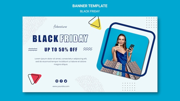 Horizontal banner for black friday with woman and triangles