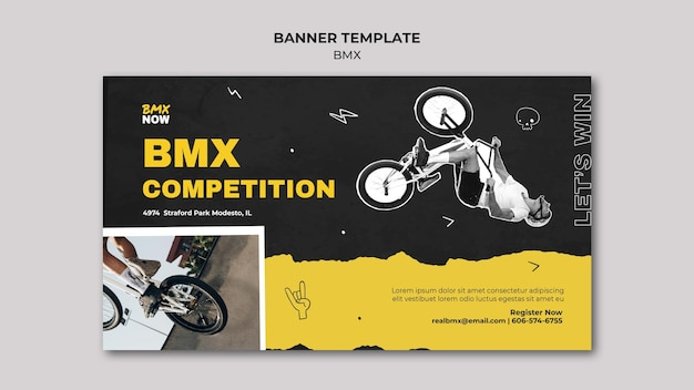 Horizontal banner for bmx biking with man and bicycle