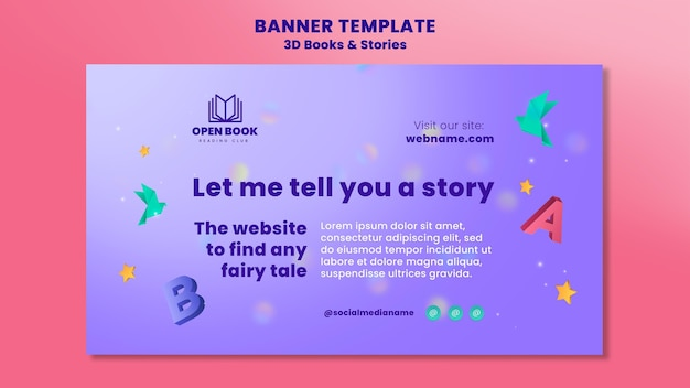 Horizontal banner for books with stories and letters