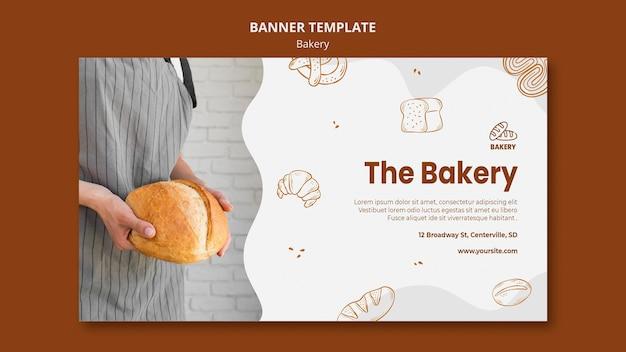 Horizontal banner for bread baking shop