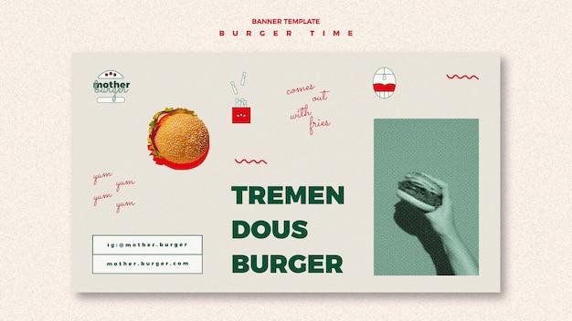 Horizontal banner for burger restaurant