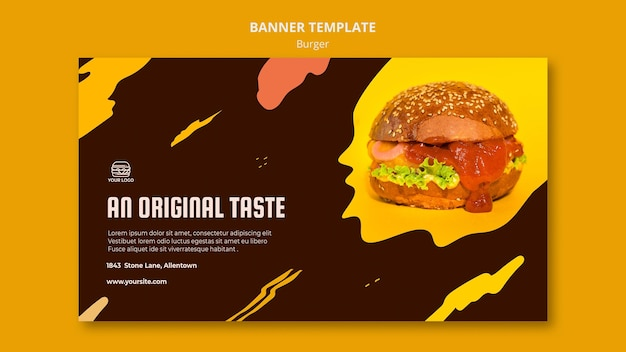 Horizontal banner for burger restaurant