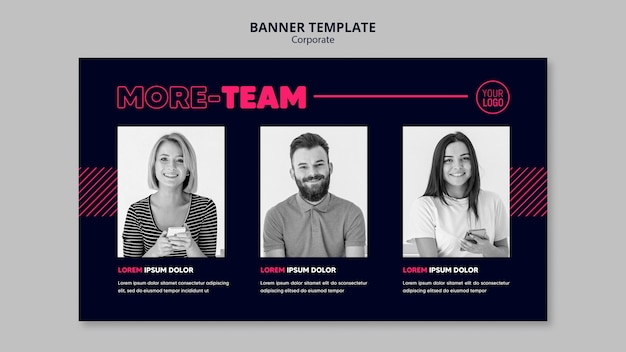Horizontal banner for business team