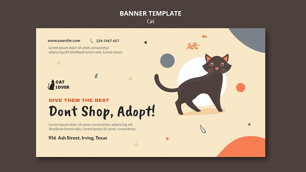 Horizontal banner for cat adoption