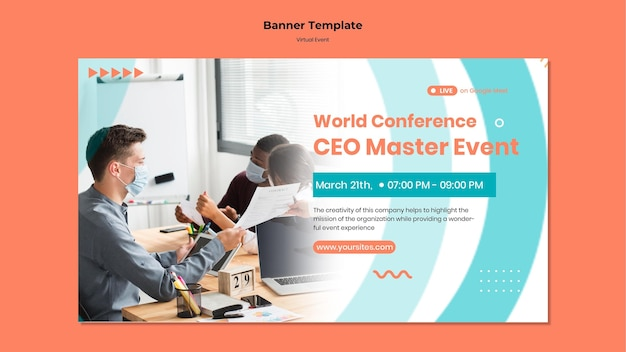 Horizontal banner for ceo master event conference