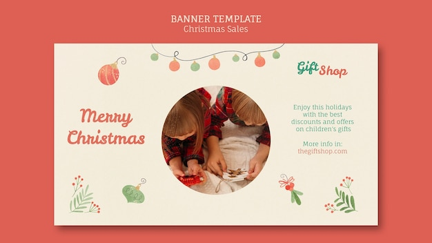 Horizontal banner for christmas sale with children