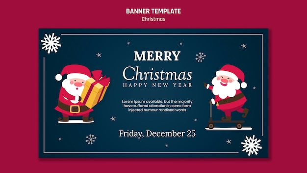 Horizontal banner for christmas with santa claus