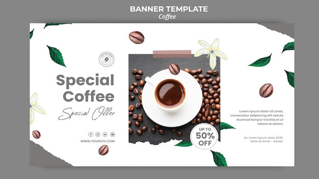 Banner orizzontale per caffè
