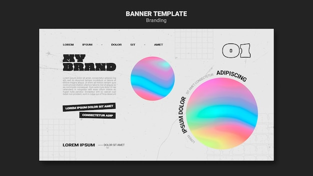 Horizontal banner for company branding with colorful circle shape