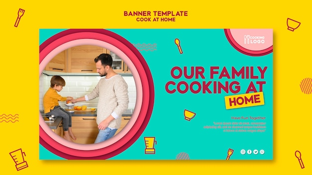 Horizontal banner for cooking at home
