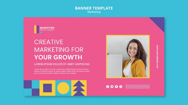 Horizontal banner for creative marketing agency Free Psd