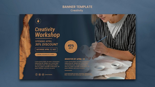 Horizontal banner for creative pottery workshop with woman