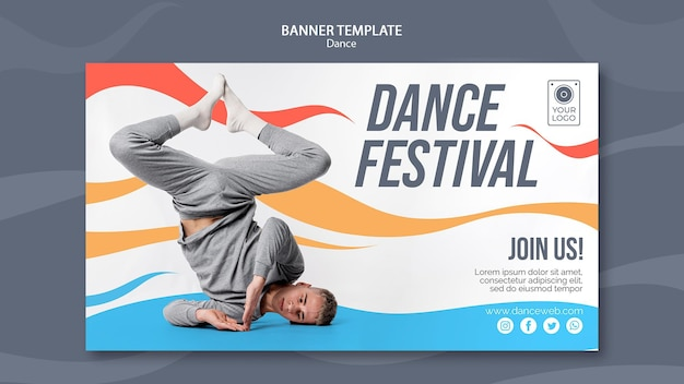 Horizontal banner for dance festival with performer