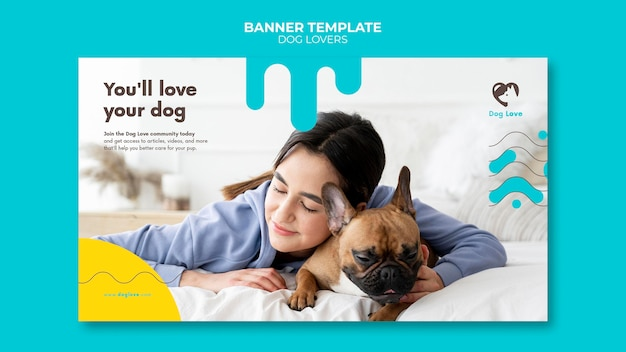 Horizontal banner for dog lovers with female owner