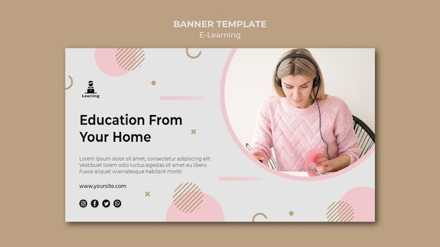 Horizontal banner e-learning concept