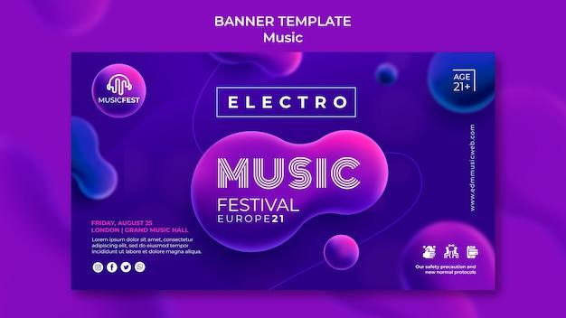 Banner orizzontale per festival di musica elettronica con forme di effetto liquido al neon