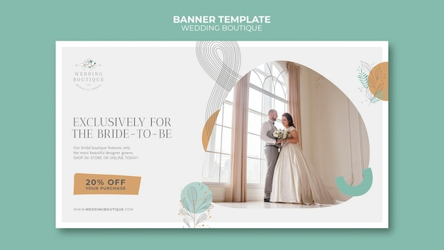 Horizontal banner for elegant wedding boutique