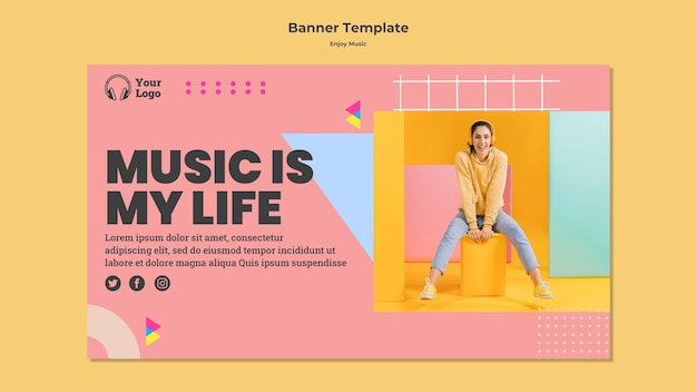 Horizontal banner for enjoying music
