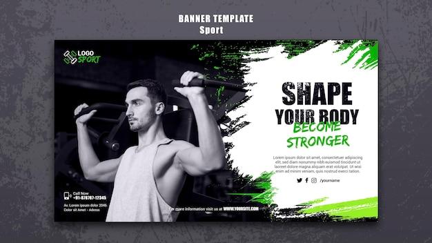 Banner orizzontale per l'esercizio fisico e l'allenamento in palestra