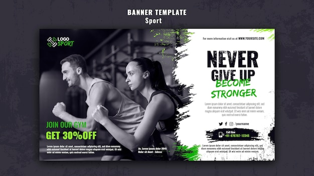 Horizontal banner for exercise and gym training