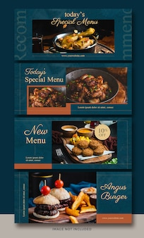 Horizontal banner or facebook cover collection for food and restaurants