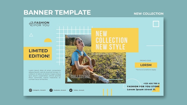 Horizontal banner for fashion collection with woman in nature