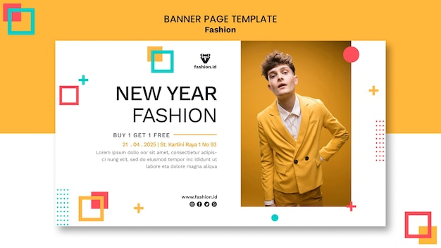 Horizontal banner for fashion with male model