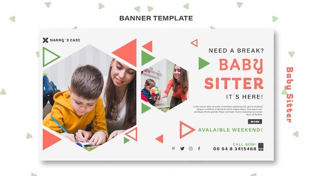 Banner orizzontale per baby-sitter donna con bambino