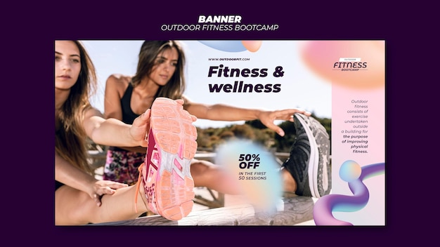 Horizontal banner for fitness outdoors
