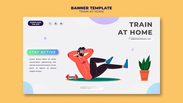 Horizontal banner for fitness training at home